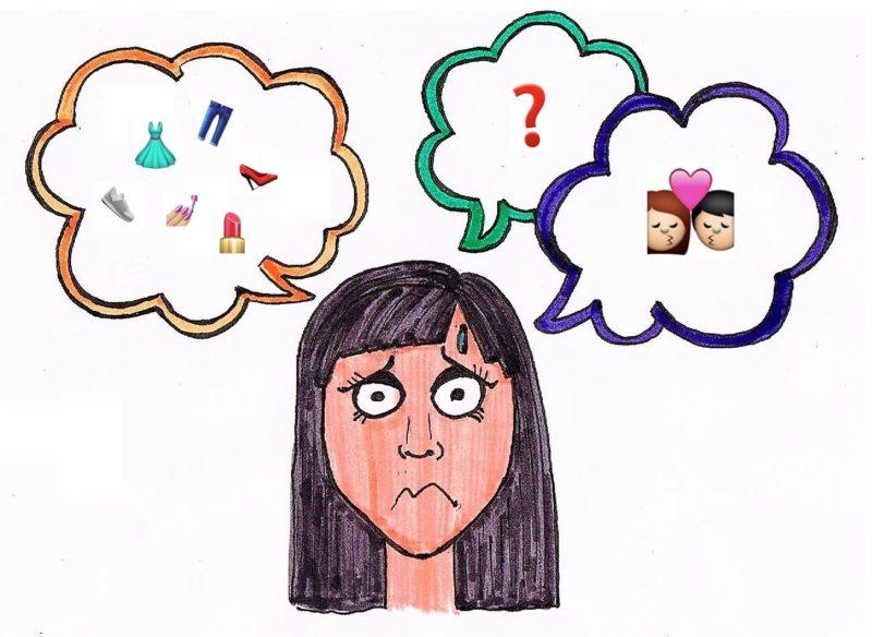 Ilustración. Mujer con expresión preocupada y tres globos de pensamiento: uno con emojis de ropa y maquillaje, otro un signo de pregunta y otro un emoji de una parejaji de