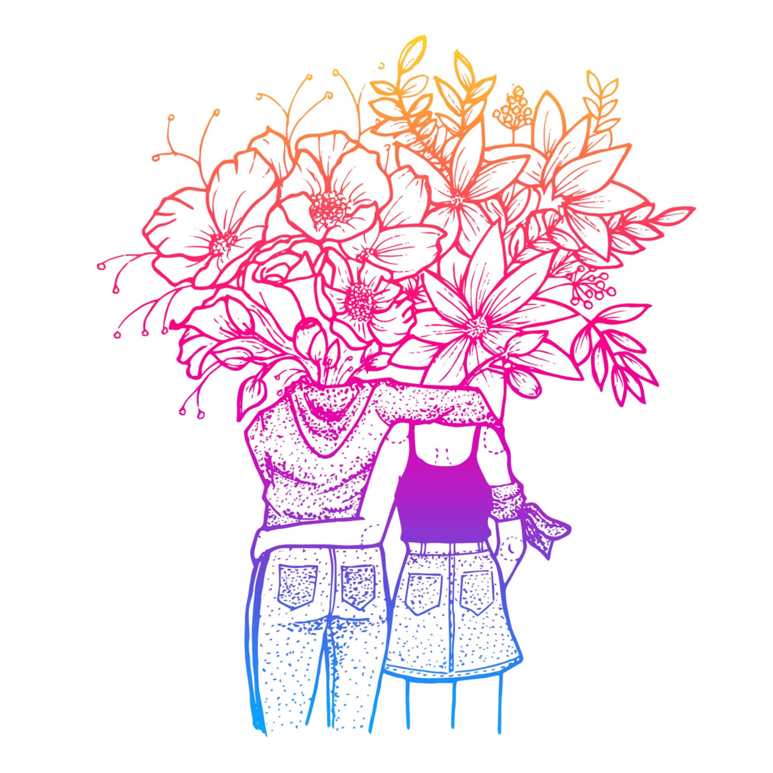 Ilustración. Dos mujeres abrazadas, de espaldas, y flores saliendo de su cuello.