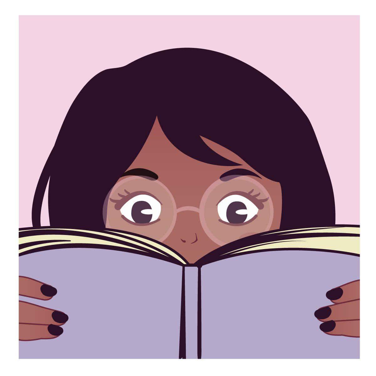 Ilustración de mujer leyendo