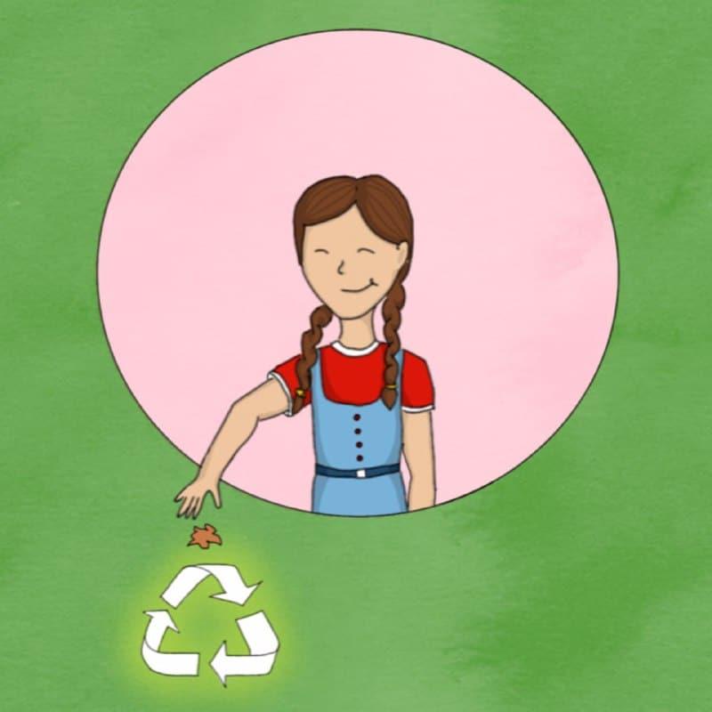 Ilustración de una niña reciclando