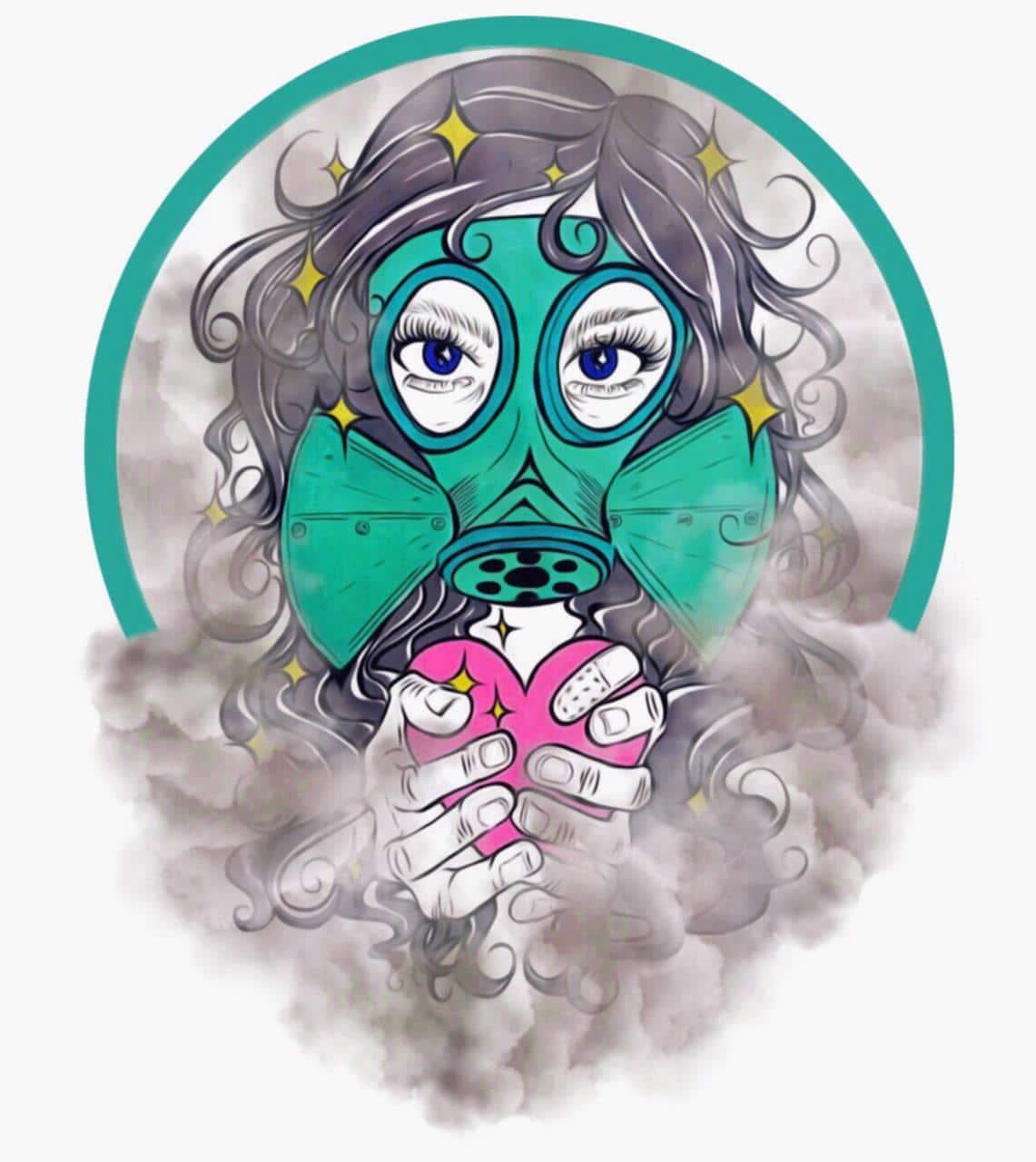 Ilustración: mujer con una máscara de gas y un corazón en las manos