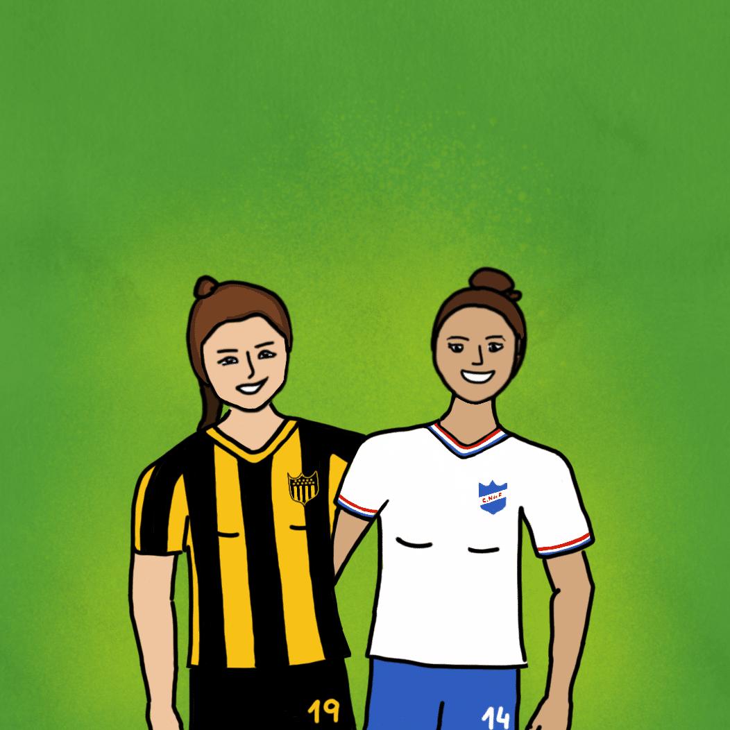 Ilustración de las capitanas de Nacional y Peñarol abrazadas.