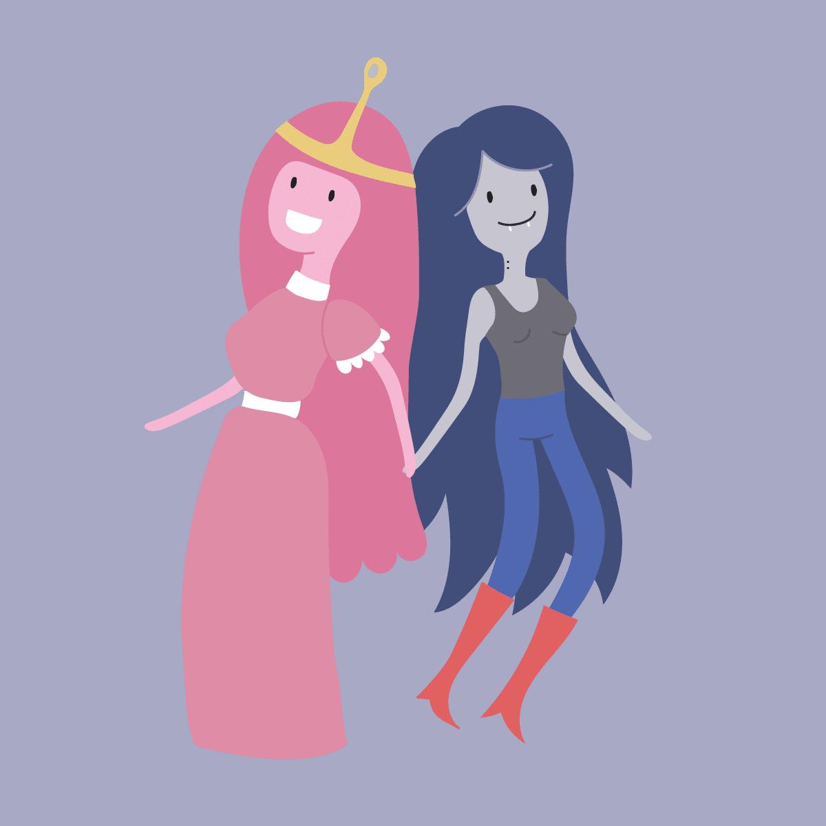 Ilustración. Dos personajes de Hora de Aventuras.