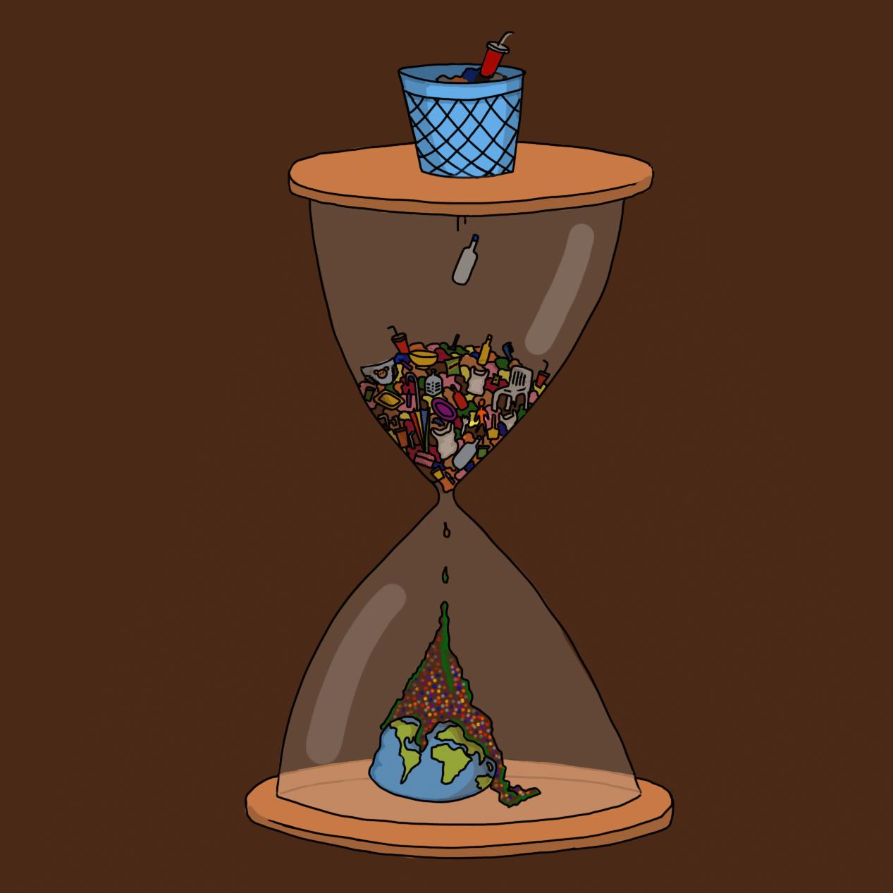 Ilustración. Hay un reloj de arena que arriba tiene una papelera. Lo que entra en la papelera se acumula en la parte de arriba del reloj y al caer va destruyendo al planeta, que está en la parte de abajo.