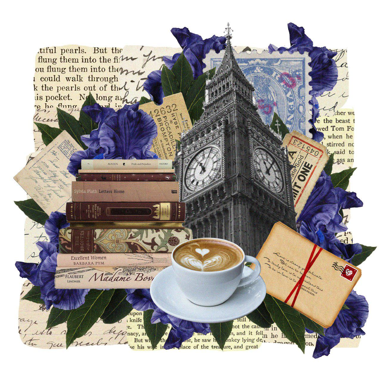Collage con libros, flores y el Big Ben
