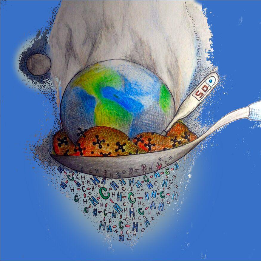 Ilustración. El planeta entre la mugre, un termómetro marca 50 grados.