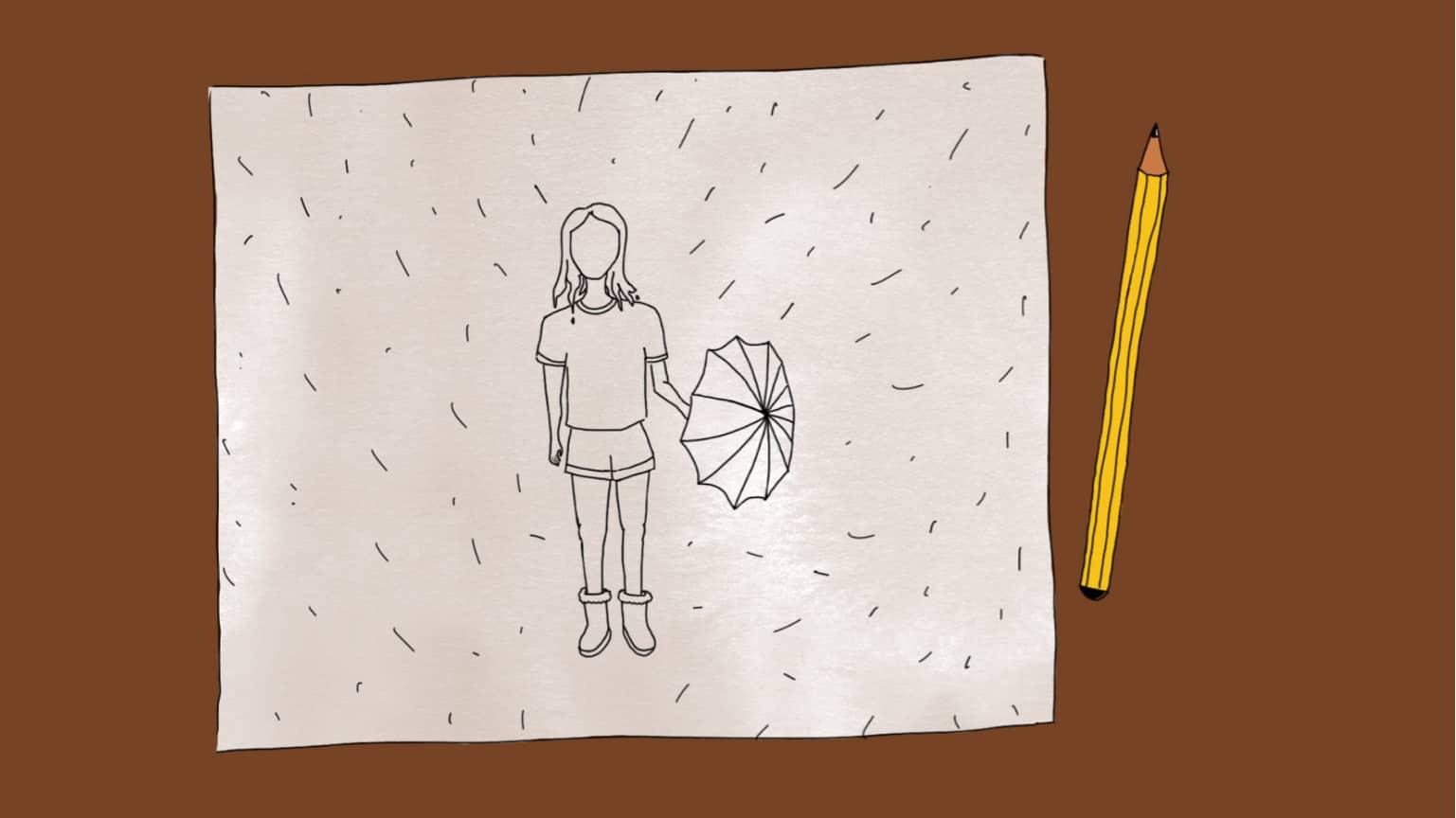 Imagen de una mesa con un dibujo con una figura femenina con pollera, paraguas y lluvia, que recuerda un dibujo realizado para un test psicológico. Al lado derecho del dibujo se encuentra un lápiz amarillo y negro a rayas.