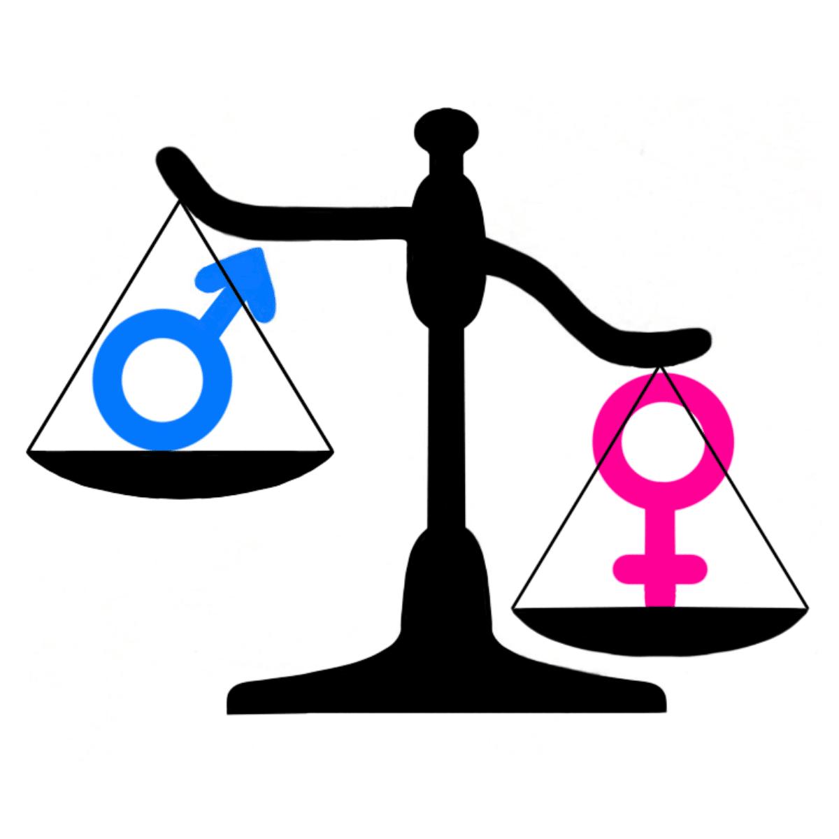 Balanza donde están los símbolos femeninos y masculinos y pesa más el femenino.