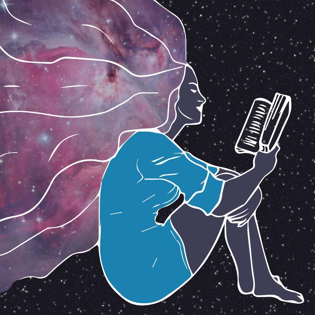 Joven leyendo con un libro en las manos, fondo de galaxia donde su pelo violeta se mezcla