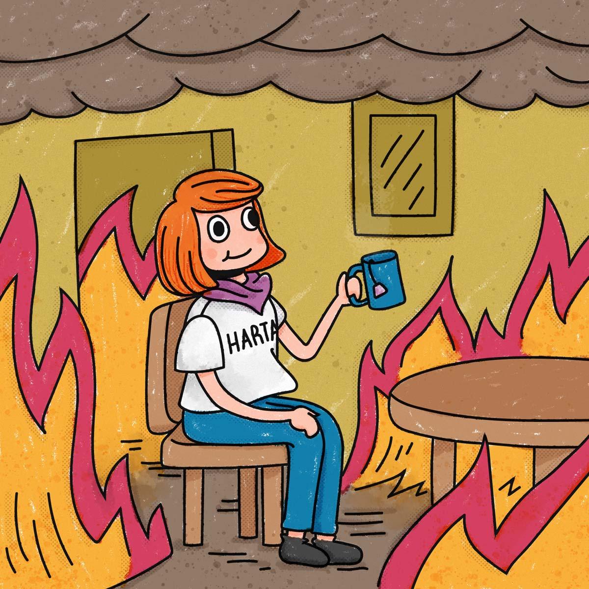 Chica con pelo naranja, remera de harta, sonriente mientras toma té, en un cuarto rodeado de llamas.