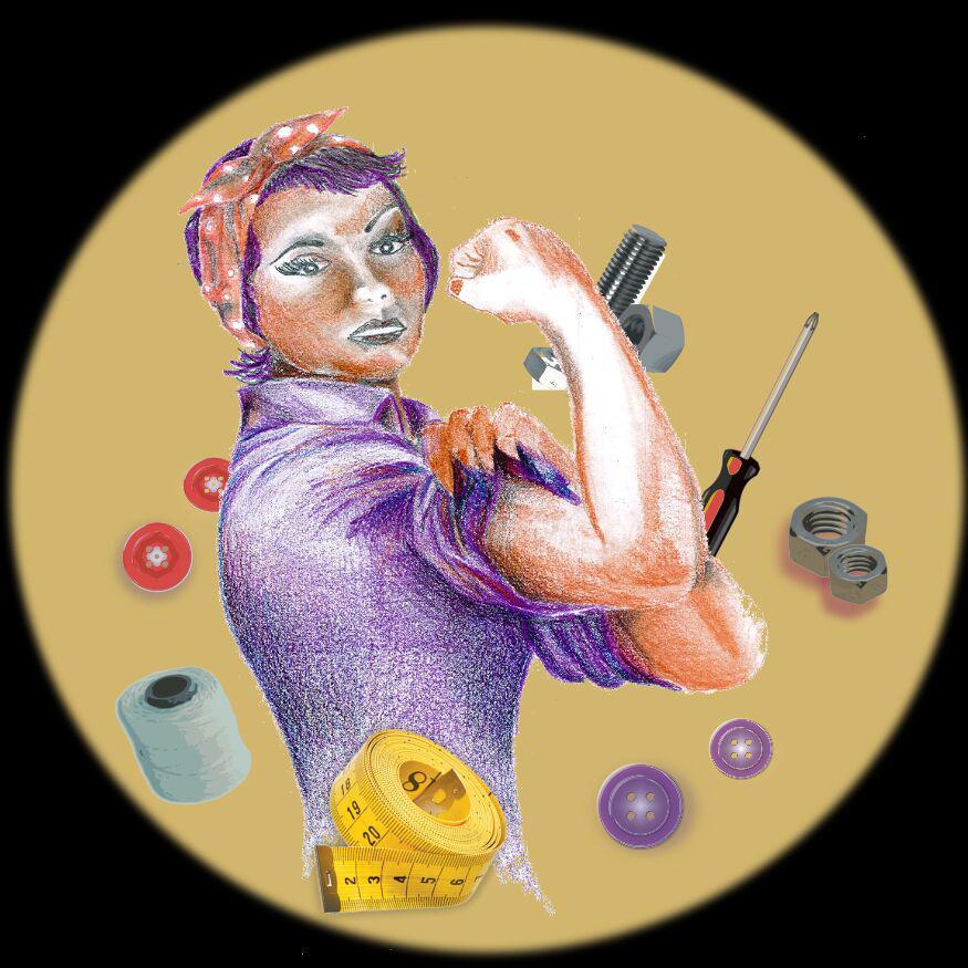 Iconica imagen de mujer con bandana flexionando su brazo, rodeada de herramientas