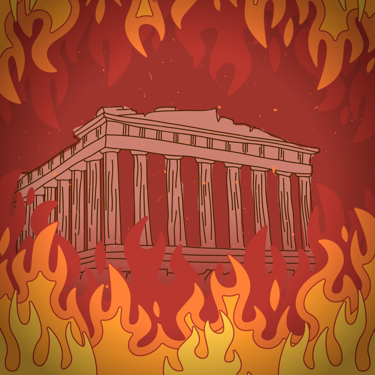 Panteón rodeado de llamas