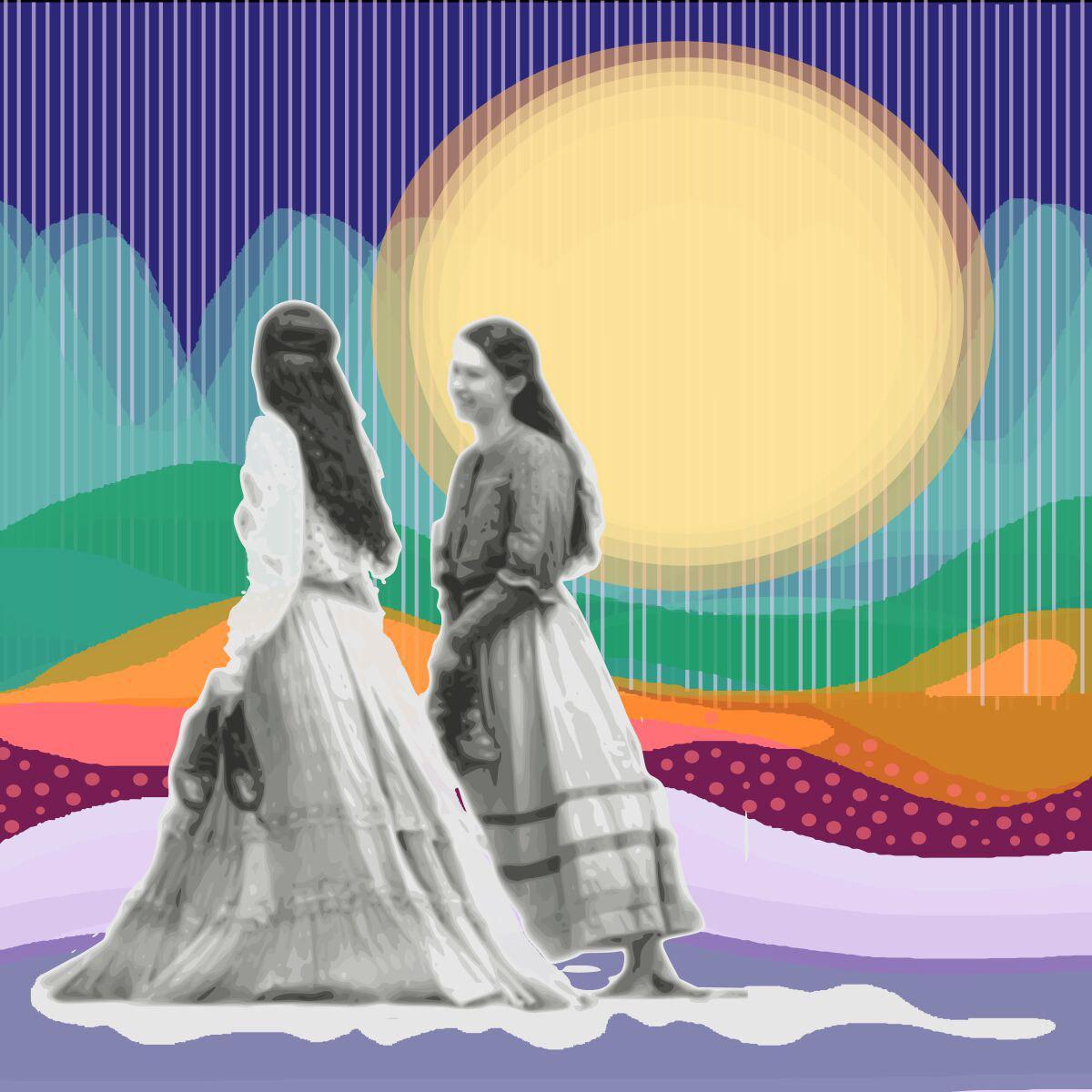 La pareja, caminando con un fondo de colores que recuerda un colage