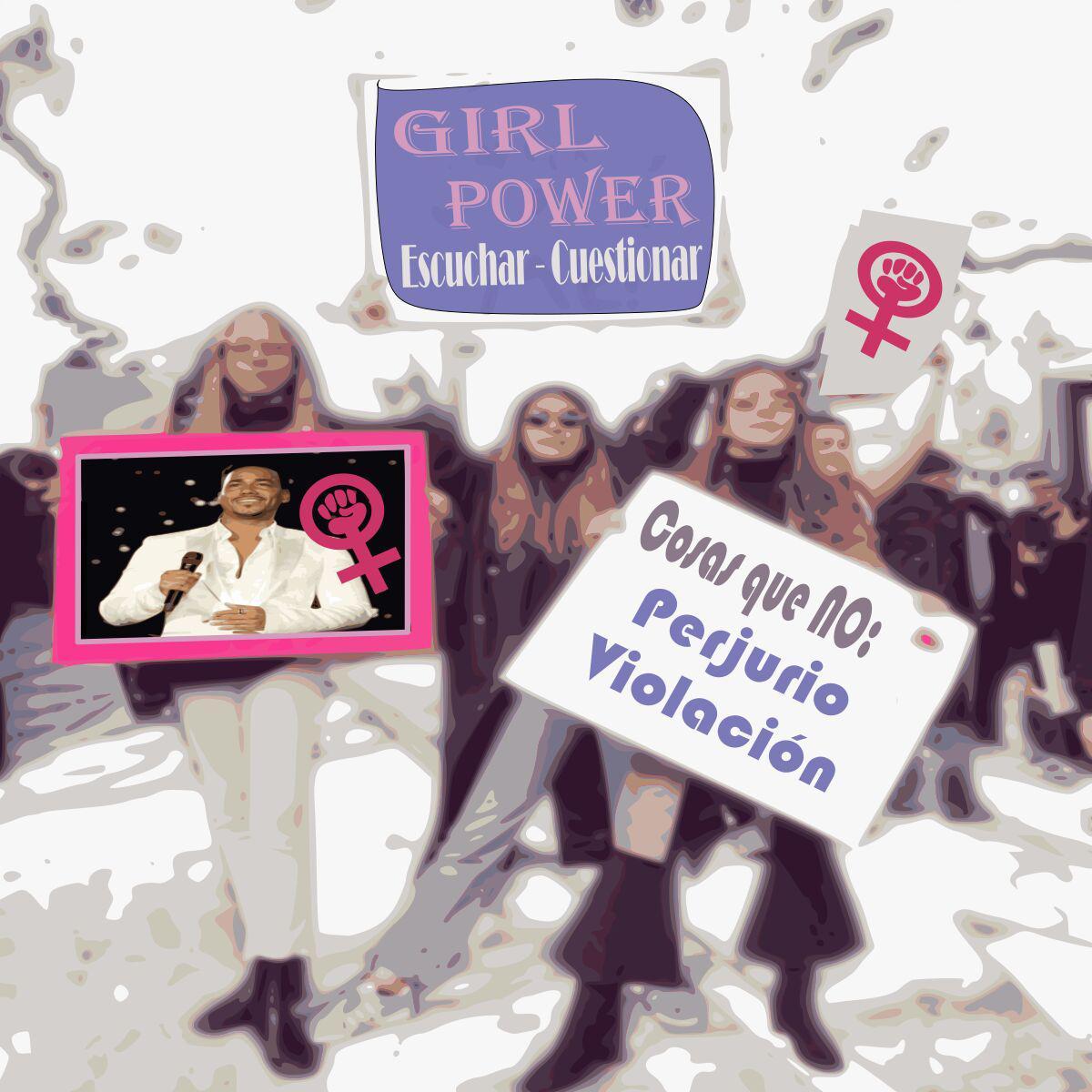 Marcha feminista con carteles en los que tienen fotos de Romeo Santos