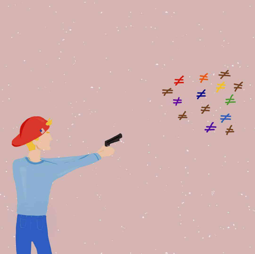 Hombre blanco con pelo rubio apuntando con un arma a símbolos de desigualdad de colores