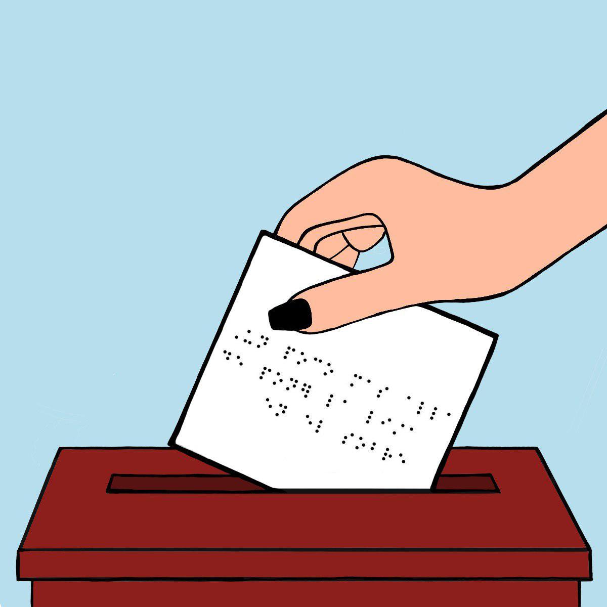 Una mano colocando un sobre en una urna de votación. El sobre tiene algo escrito en braile