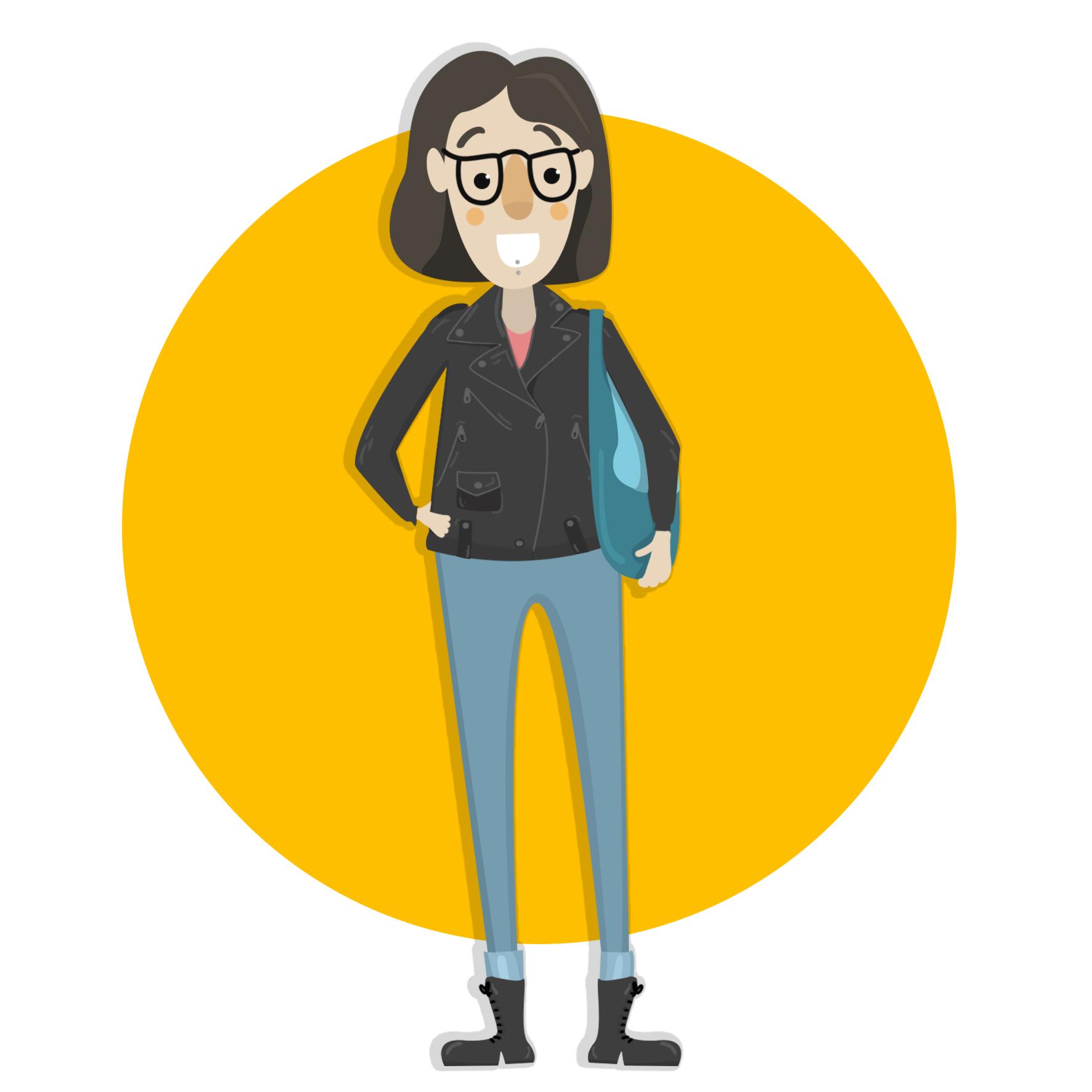 Ilustración de Sheila, tiene el pelo marrón por los hombros, usa lentes y un pircing en el labio.