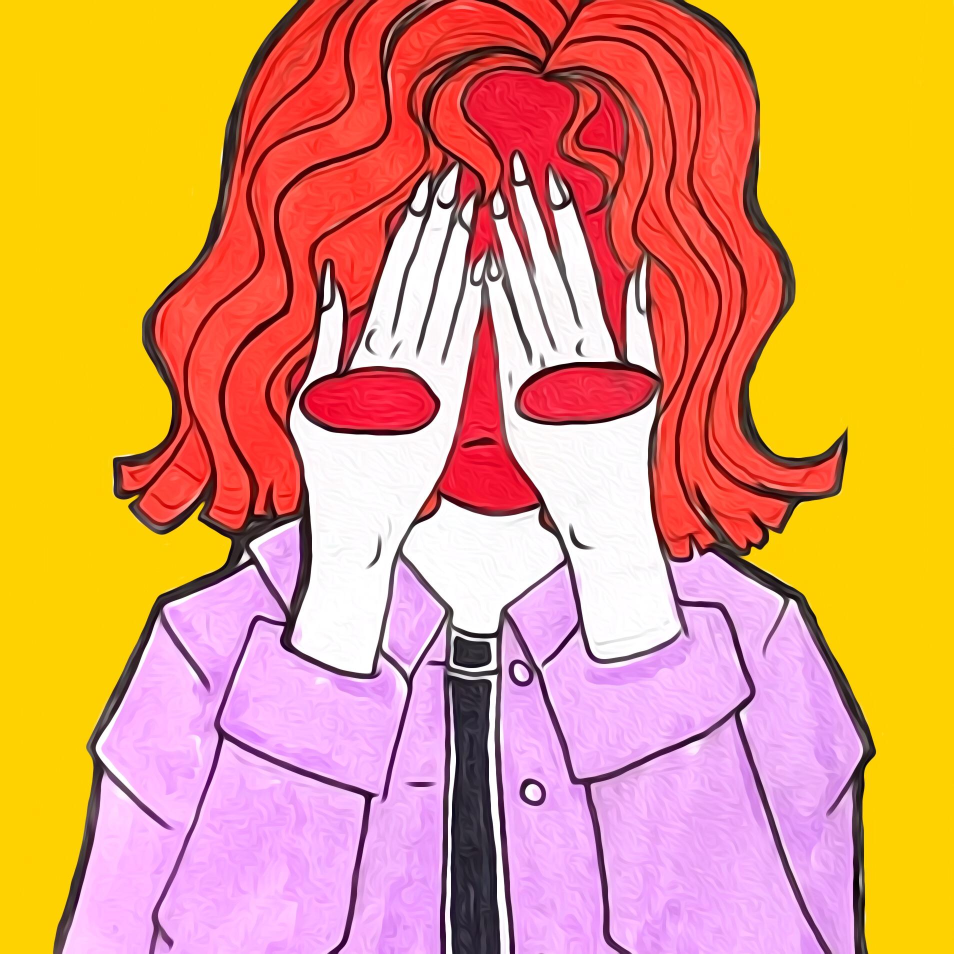 Ilustración de una mujer cubriéndose los ojos con la cara roja y óvalos rojos en las manos
