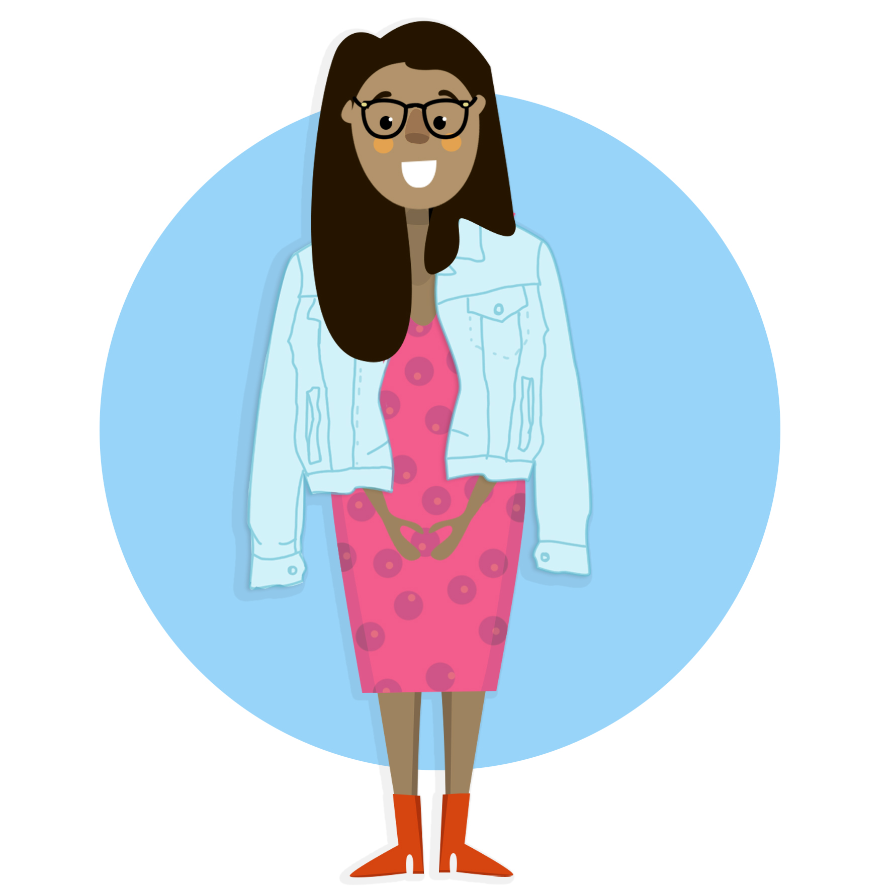 Ilustración de Gauthami, quien usa lentes y tiene piel oscura.