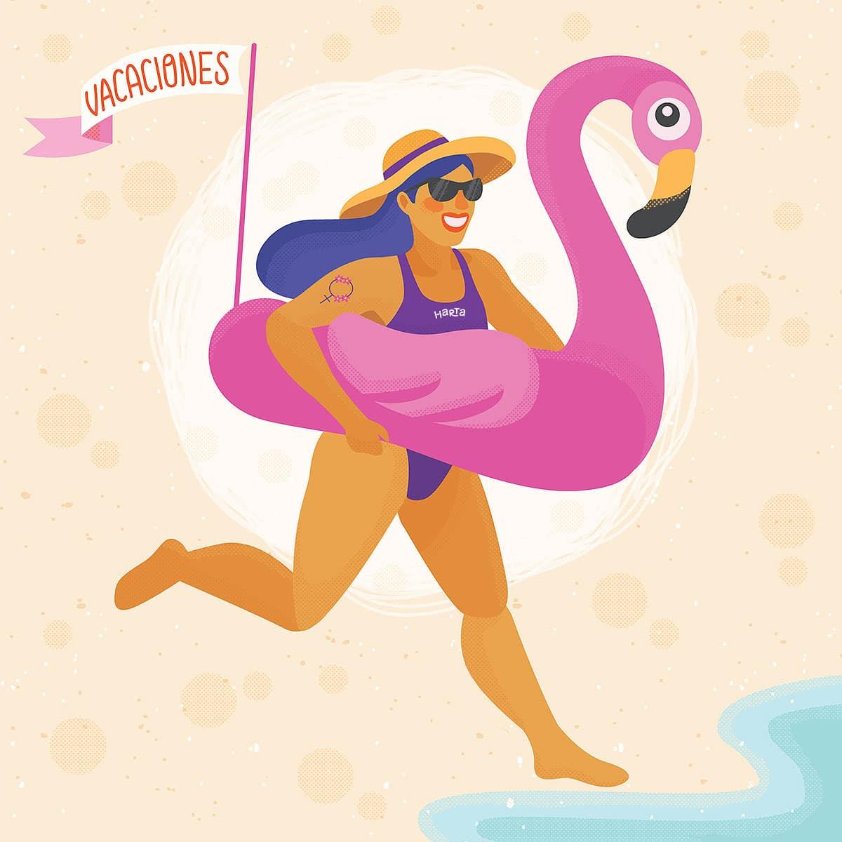 La ilustración es una chica con un flotador gigante con forma de flamenco corriendo al mar, del flotador sale un banderín que dice vacaciones y en la malla está el logo de la revista.