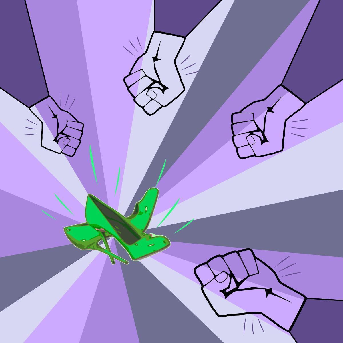 Fondo en tonos violetas con unos tacos verdes en el medio, rodeados por puños cerrados