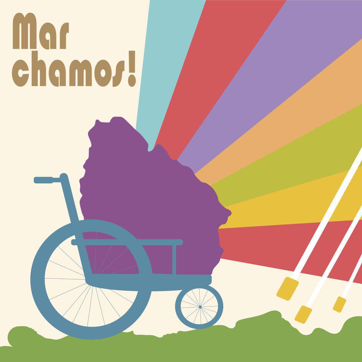 Imágen donde se encuentra el contorno de uruguay en una silla de ruedas, de él sale un arcoiris a la derecha y hay bastones blancos en el costado