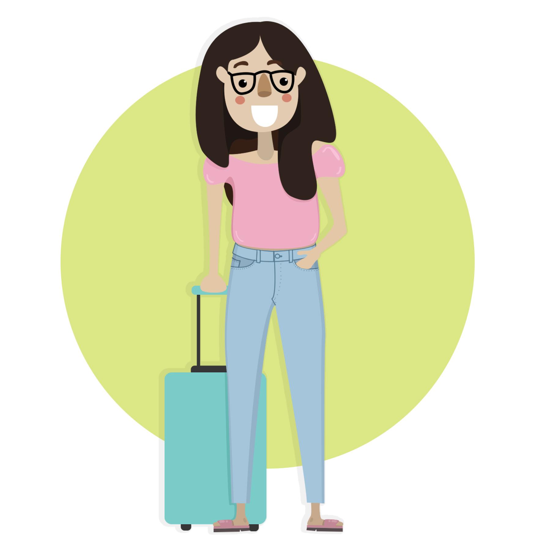 Ilustración de Vanessa quien usa lentes y lleva el pelo largo y sobre el hombro derecho