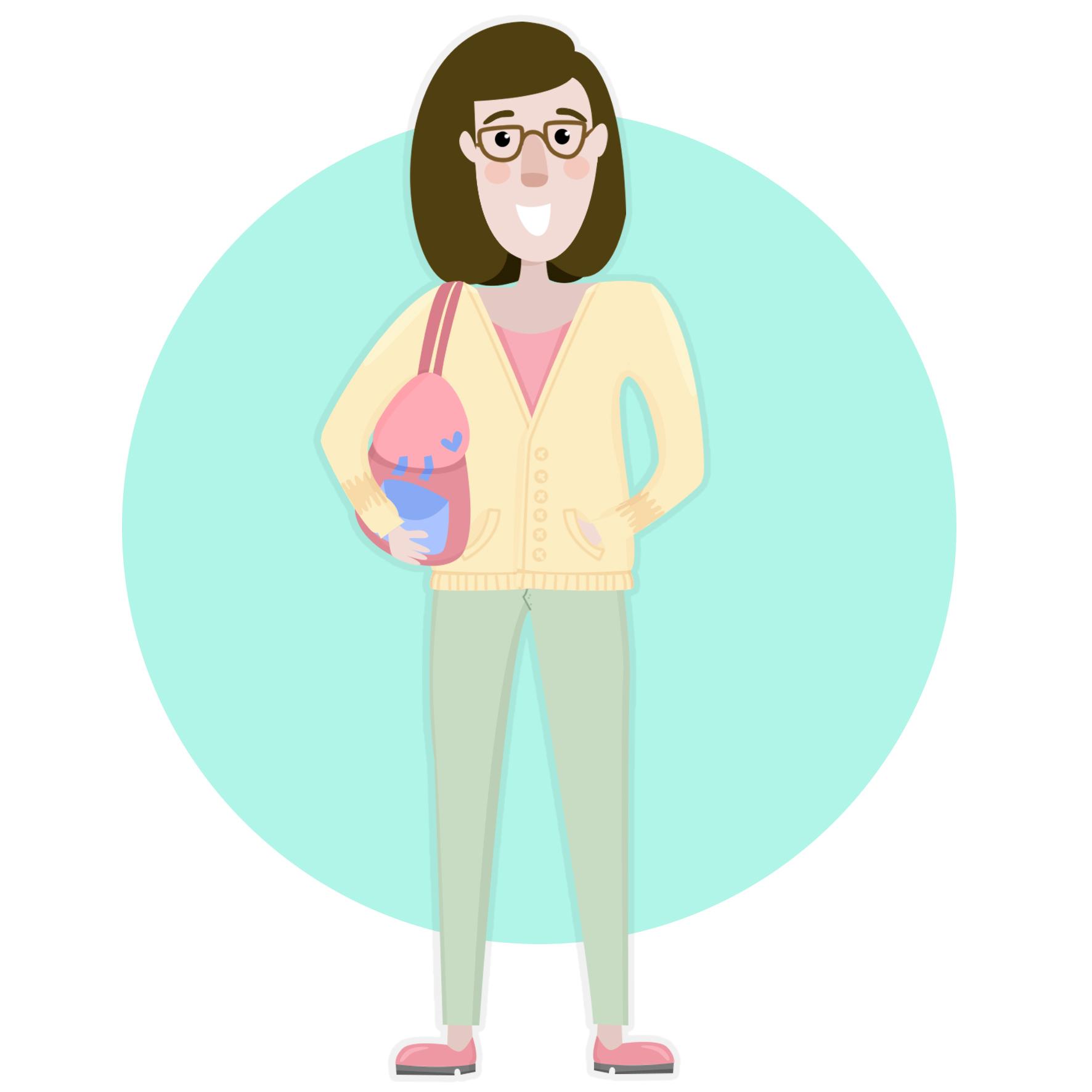 Ilustración de Viviana, con un bolso en el hombro, pelo corto y negro hasta los hombros