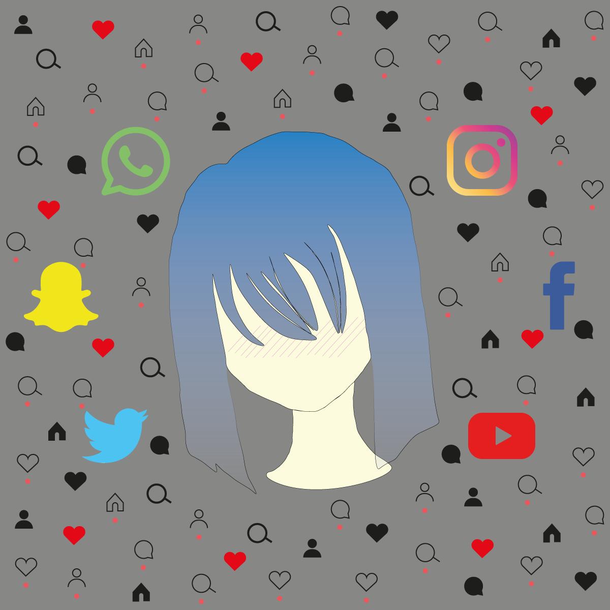 Chica sin rostro con pelo azul rodeada de iconos de redes sociales