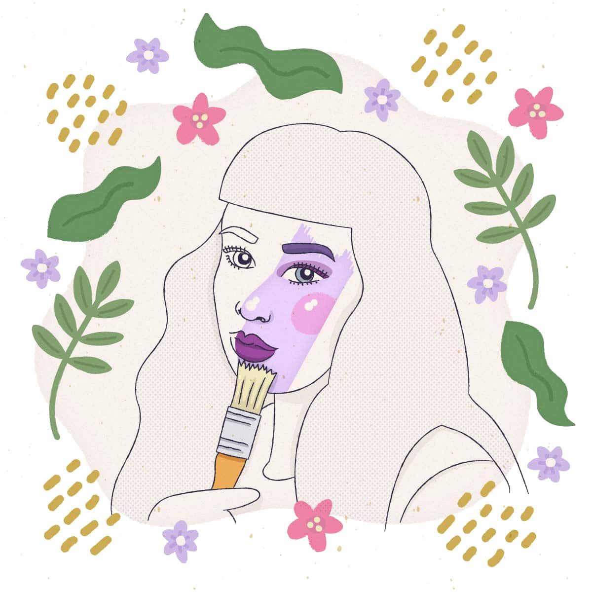 ilustración de una mujer con la cara pincelada de colores y plantas al rededor