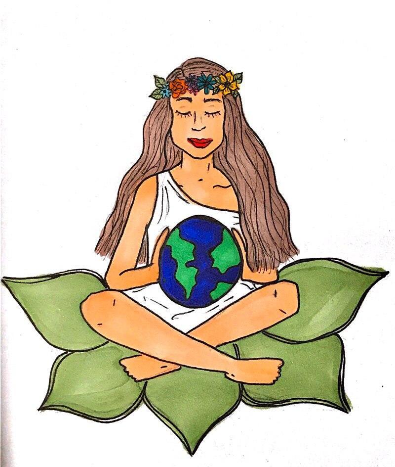 Mujer sentada con las piernas cruzadas sobre una flor de loto con un mundo en la falda.