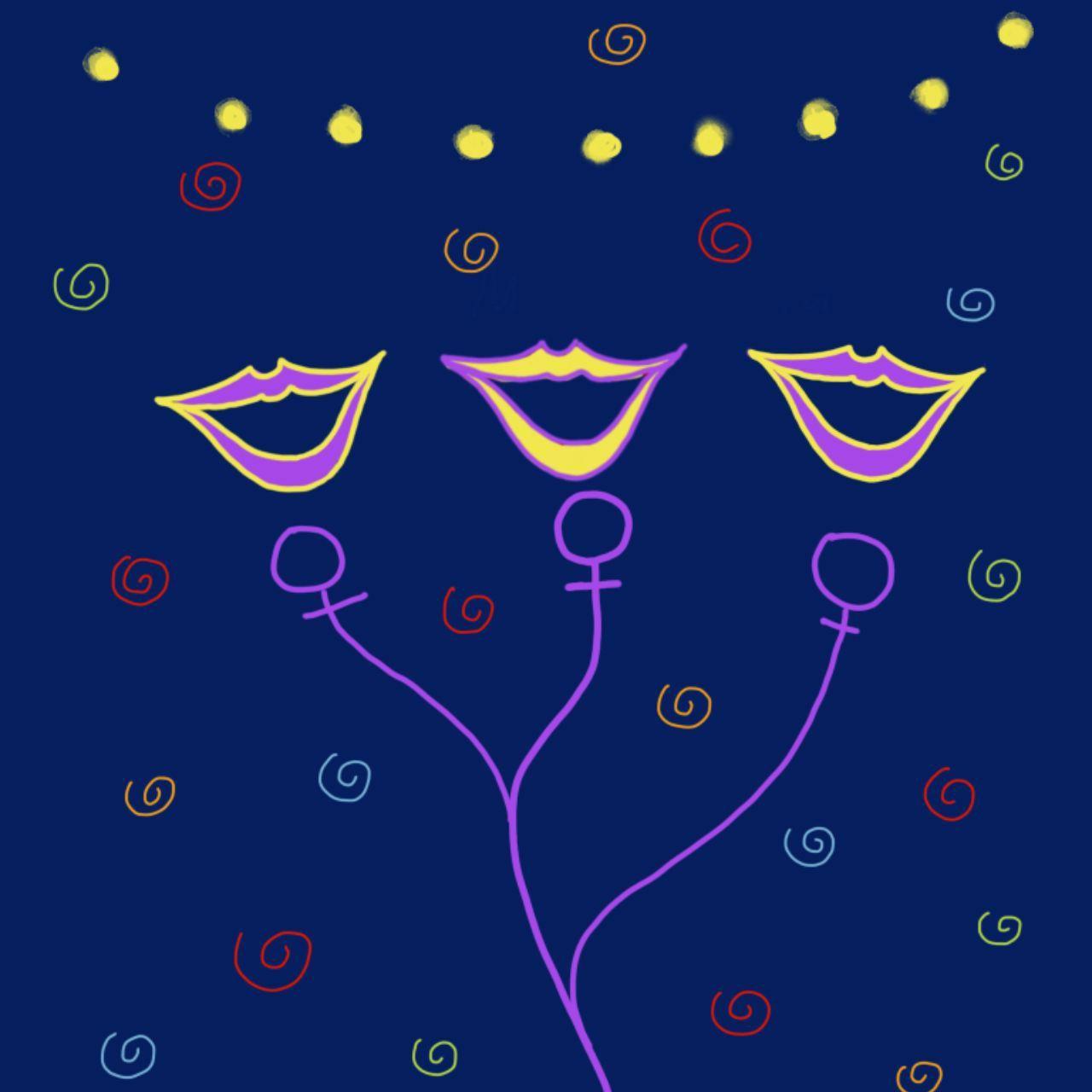 Ilustración donde hay tres bocas sonrientes en micrófonos que recuerdan al símbolo de la mujer. En el fondo hay guirnaldas en un fondo azul oscuro