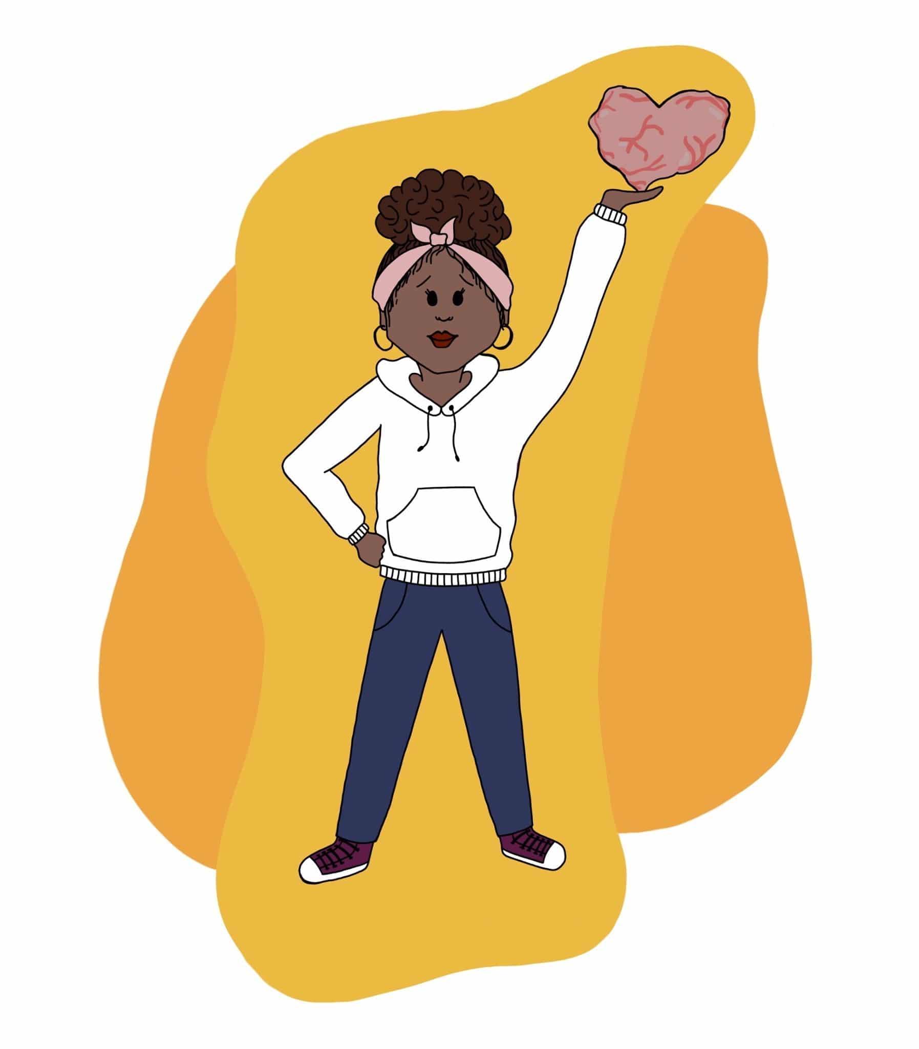 Mujer negra con una mano en la cintura y otra levantada donde sostiene un corazón