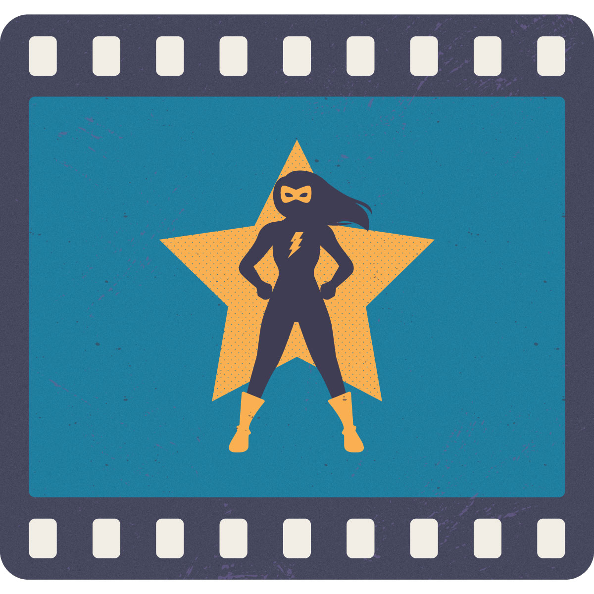 Silueta de mujer superheroína con una estrella amarilla de fondo, dentro de lo que parece ser una cinta de fotografía