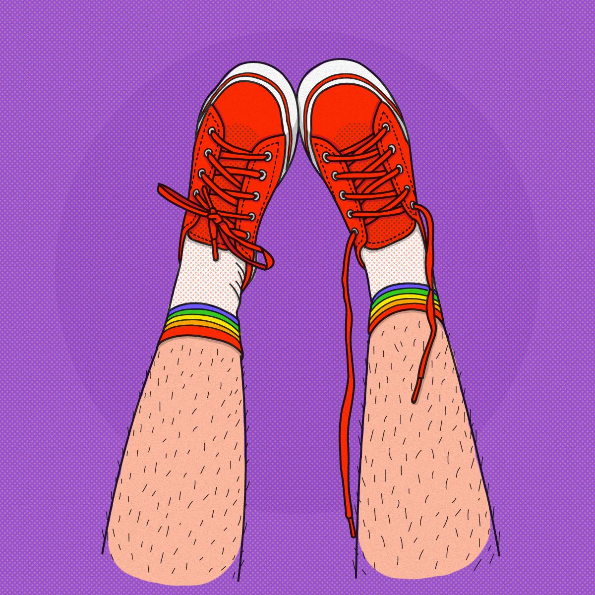 """ilustración de piernas """"hacia arriba"""", con championes rojos, medias con la bandera de la diversidad y las piernas sin depilar"""