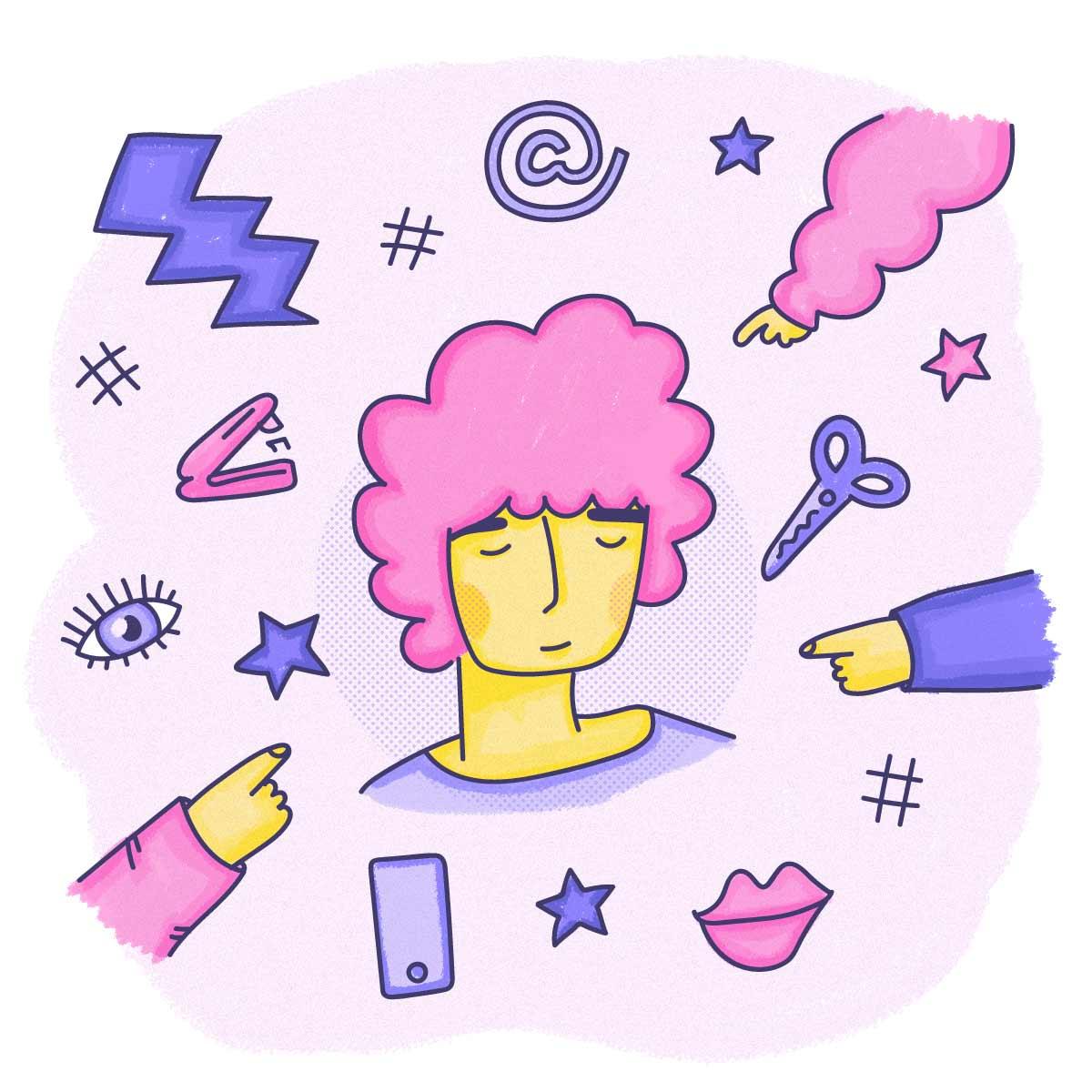 Mujer de pelo enrulado rosado rodeada de manos apuntándola y objetos de oficina