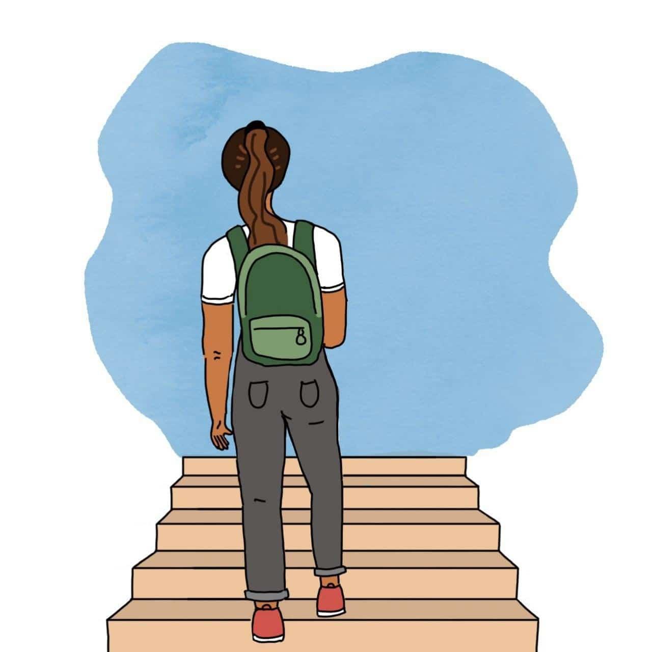 Ilustración de mujer subiendo unas escaleras con una mochila y el pelo atado. A donde se dirige se pueede ver de color celeste en fondo blanco.