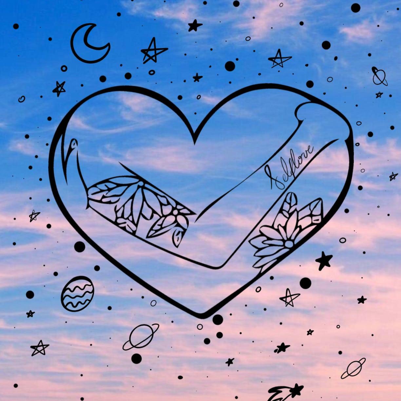 Fondo de un cielo celeste con rosado donde hay una ilustración de un corazón con brazos que se abraza a si mismo