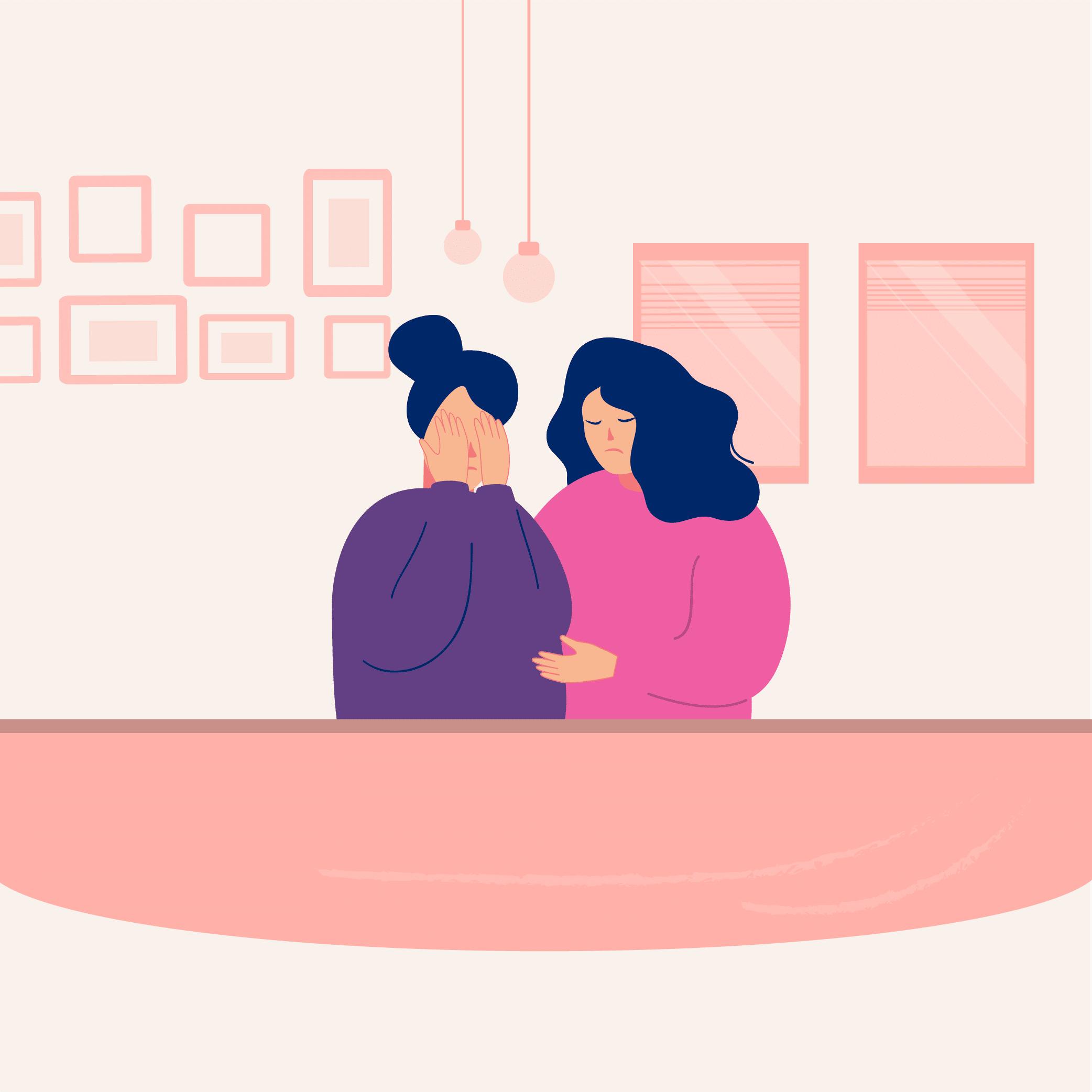 Dos mujeres, una se tapa la cara y la otra la abraza