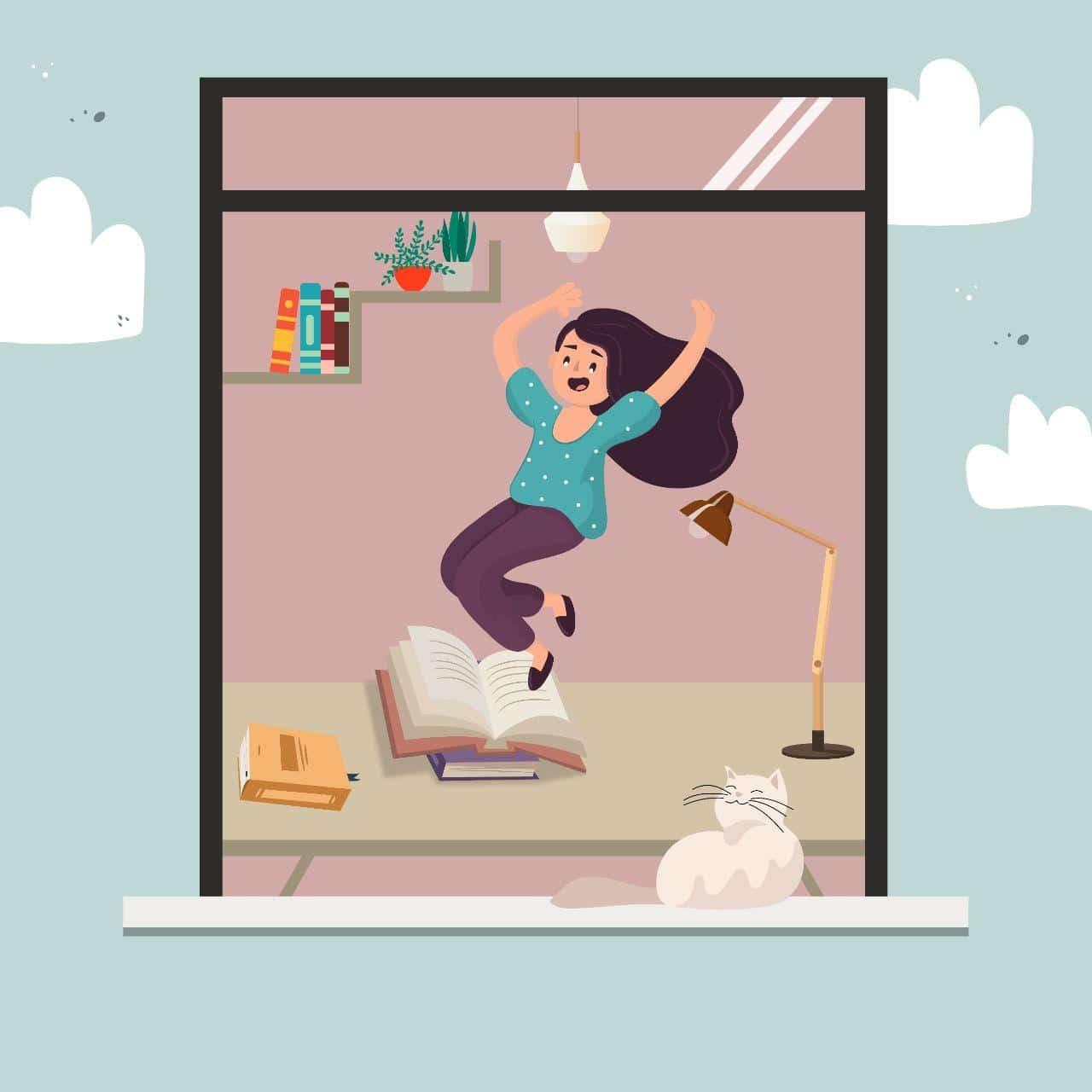 A través de una ventana vemos a una chica saltando feliz y algunos libros