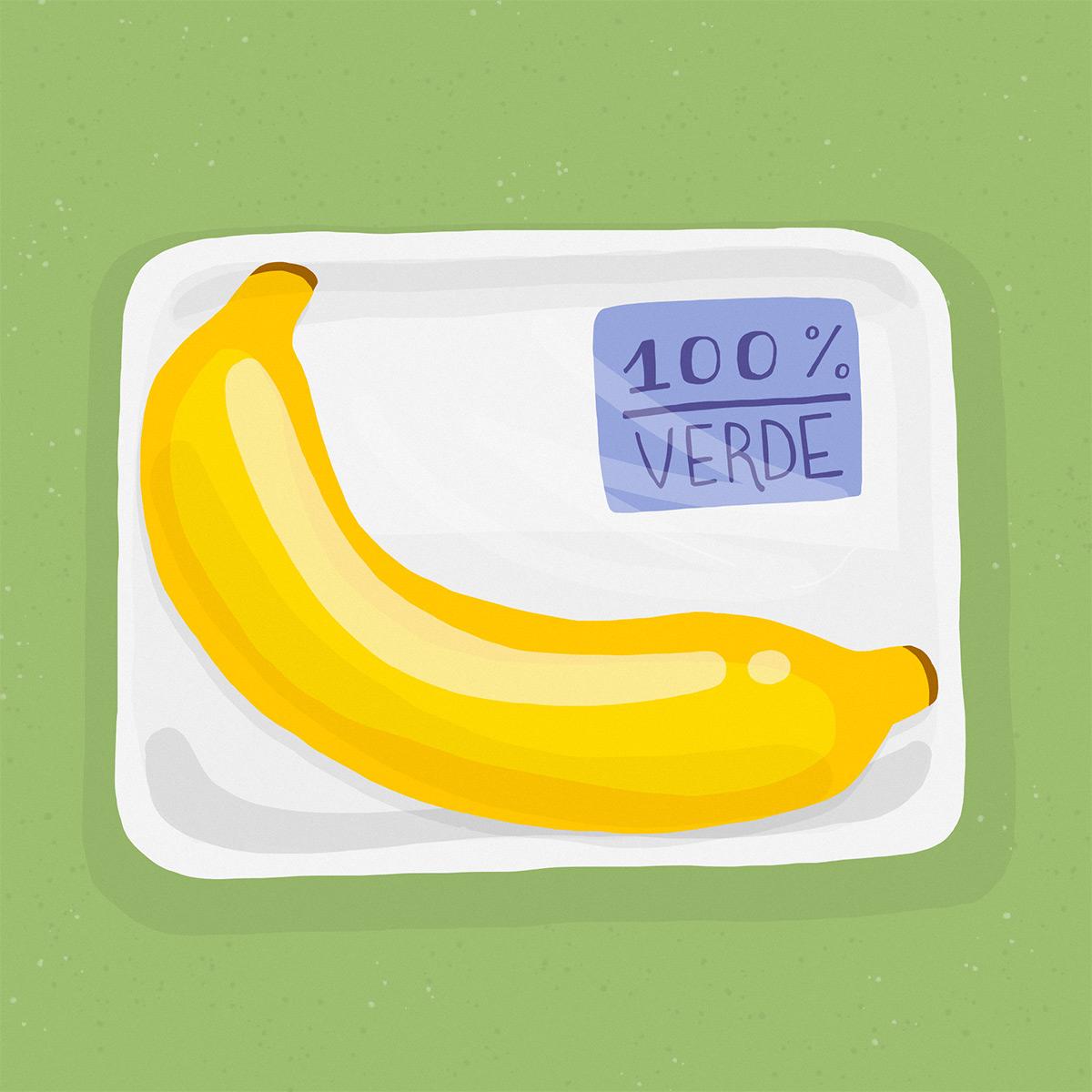 """Banana en una bandeja con la etiqueta """"100% verde"""""""