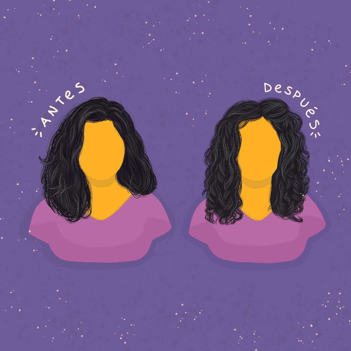 Dibujo de antes y después. Antes: pelo sin mucha forma, frizz. Después: ondas más formadas.