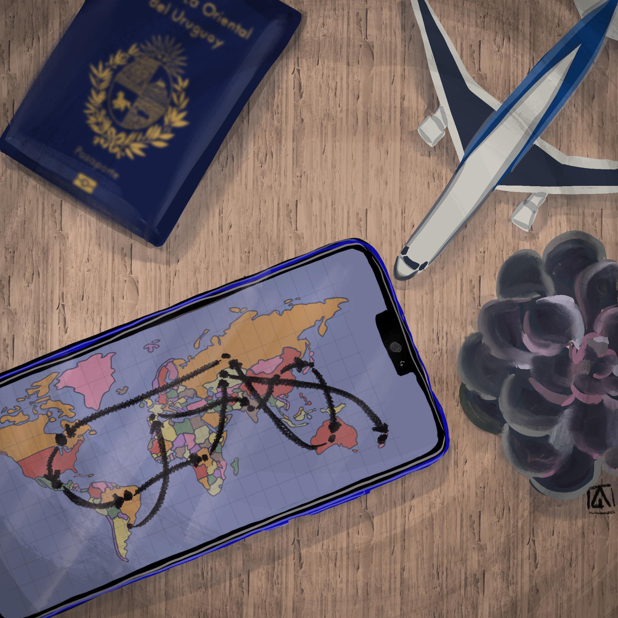 Dibujo de un celular con un planisferio, un pasaporte y un avión