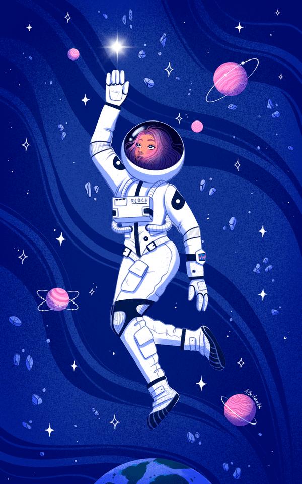 Ilustración de una mujer astronauta en el espacio rodeada de estrellas y planetas