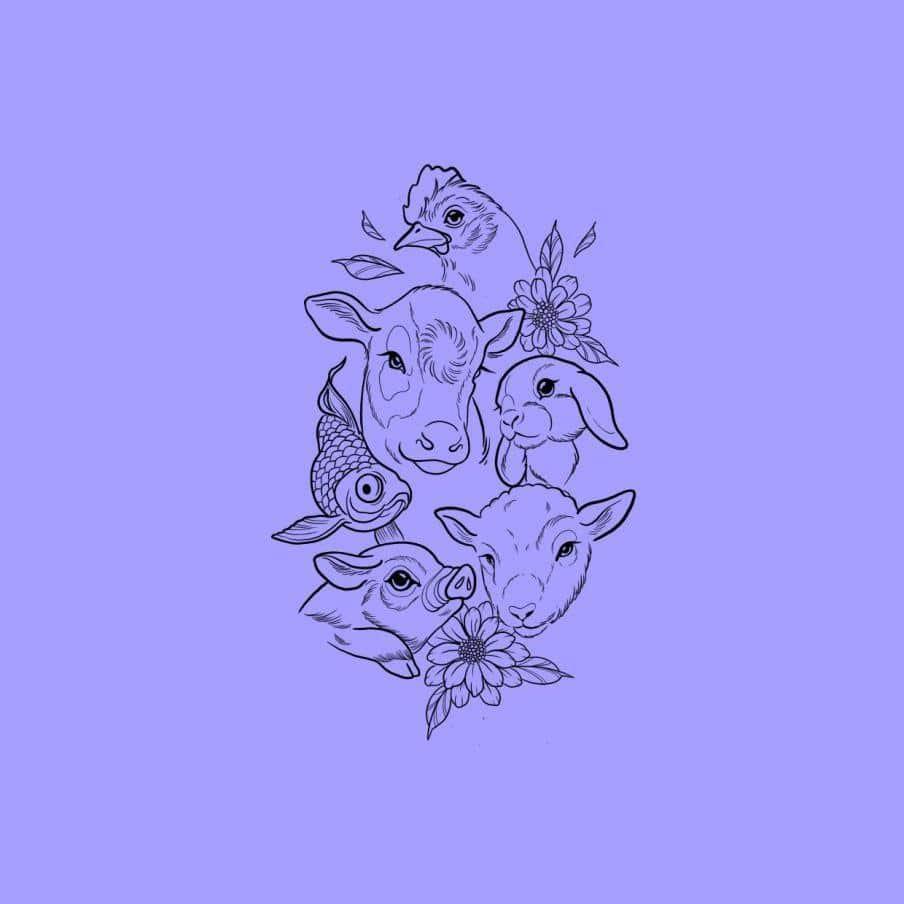 Ilustración de animales rodeados de flores