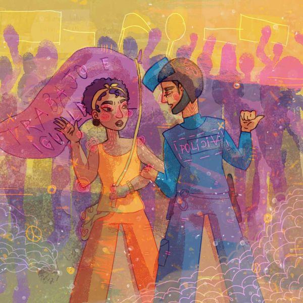 Ilustración de una mujer en una marcha hablando con un policia