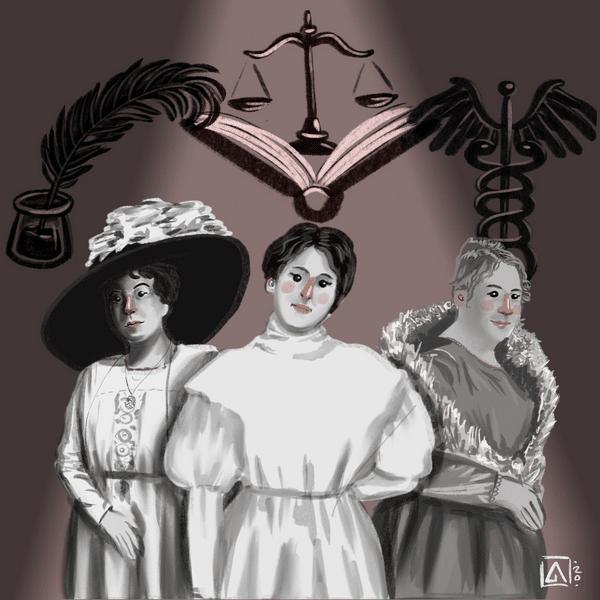 Ilustraciones de las tres hermanas Luisi con simbolos de sus carreras de fondo