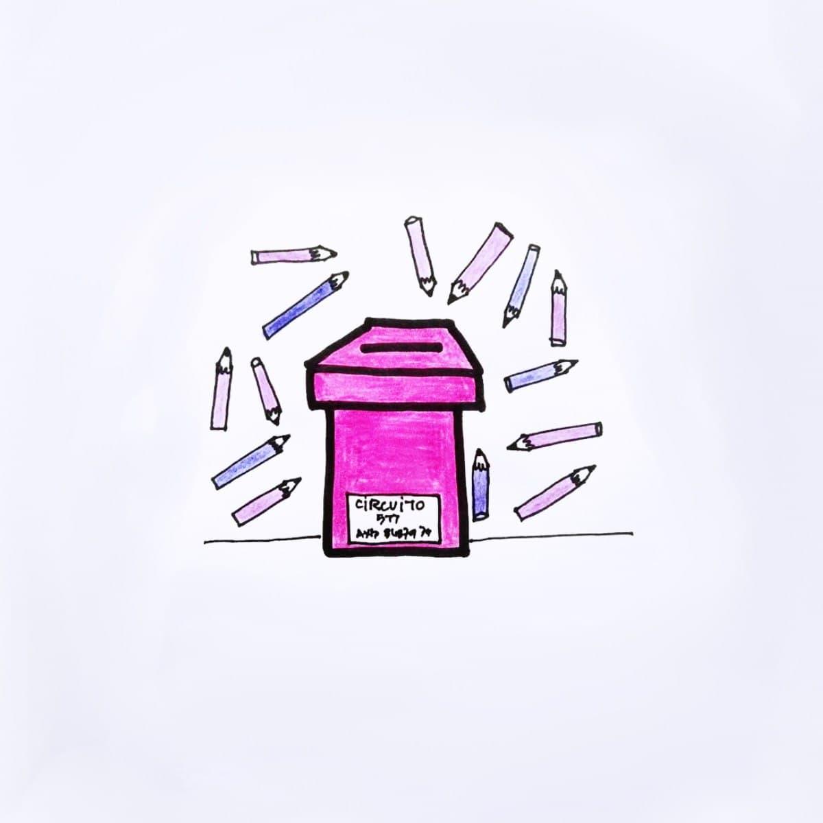 ilustración de una urna rodeada de lapices