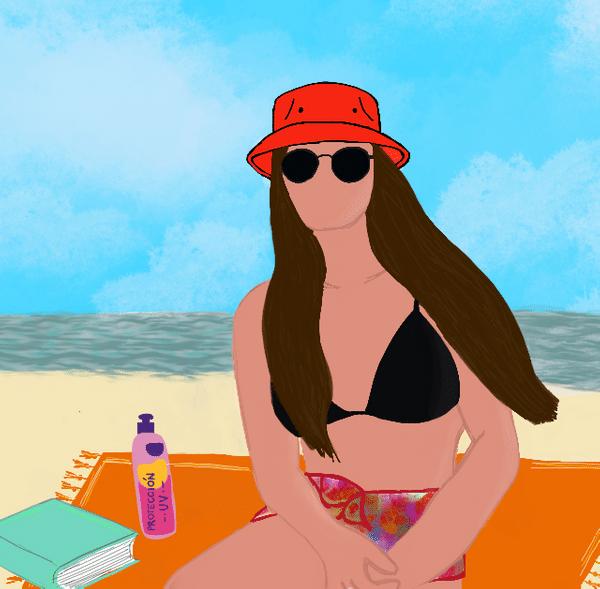 Ilustración de mujer en bikini en la playa