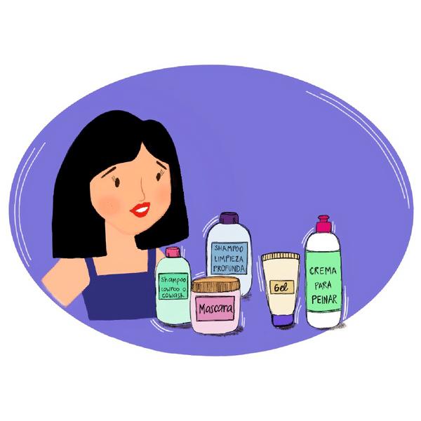 Ilustración de mujer con pelo lacio frente a muchos productos para pelo
